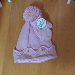 Toddler Girl Hat & Mittens NWT